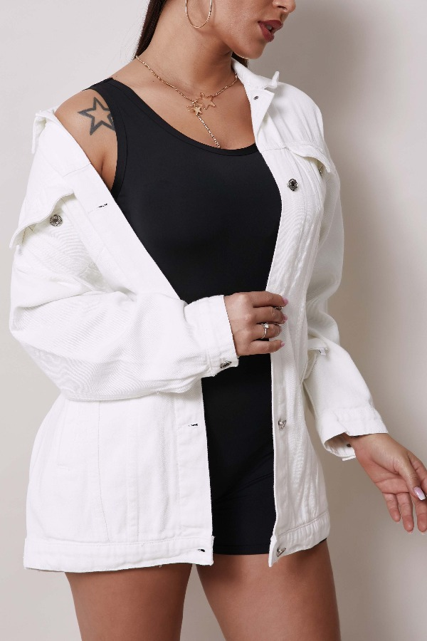 Lovely Casual Buttons Design White Jacket