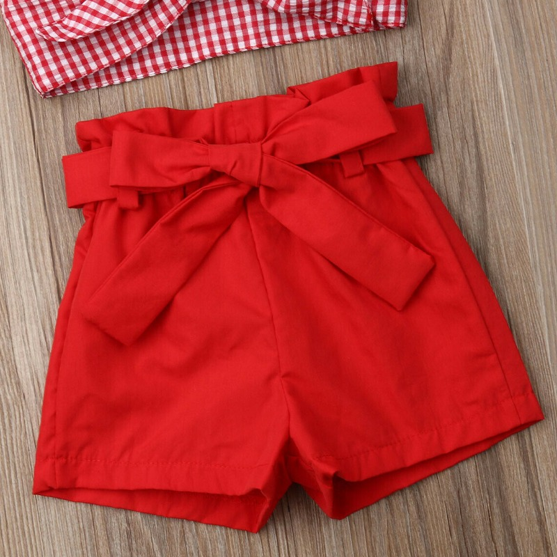 Lovely Sweet Grid Red Girl Two-piece Shorts Set