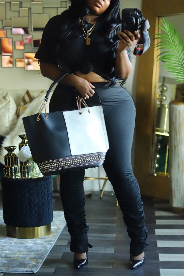Lovely Casual Skinny Black Plus Size Two-piece Pants Set