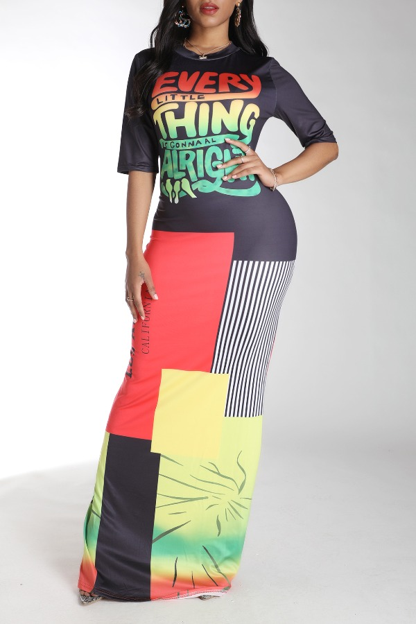 Lovely Leisure Letter Print Multicolor Maxi Dress