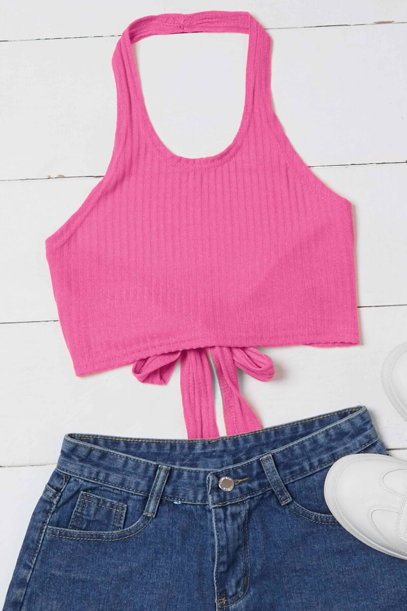 Lovely Casual Lace-up Pink Camisole