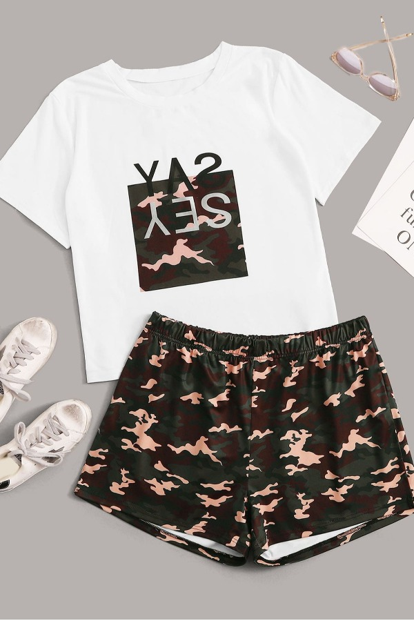 Lovely Casual Camo Print Plus Size Two-piece Shorts Set