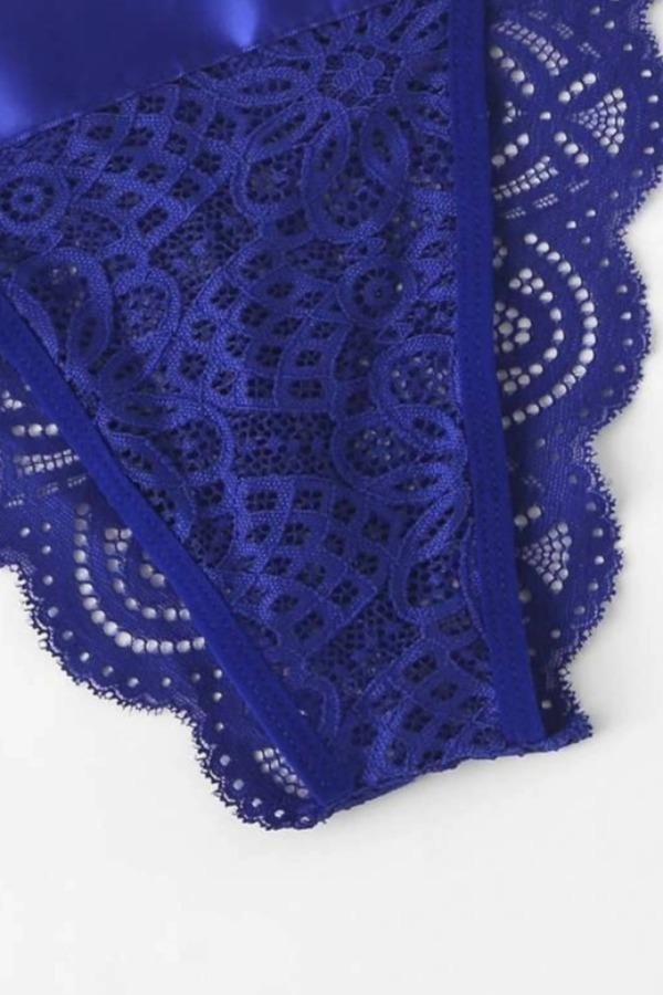 Lovely Sexy Lace-up Blue Bra Sets