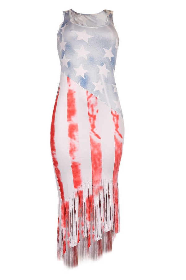 Lovely Independence Day Casual Print White Mid Calf Plus Size Dress