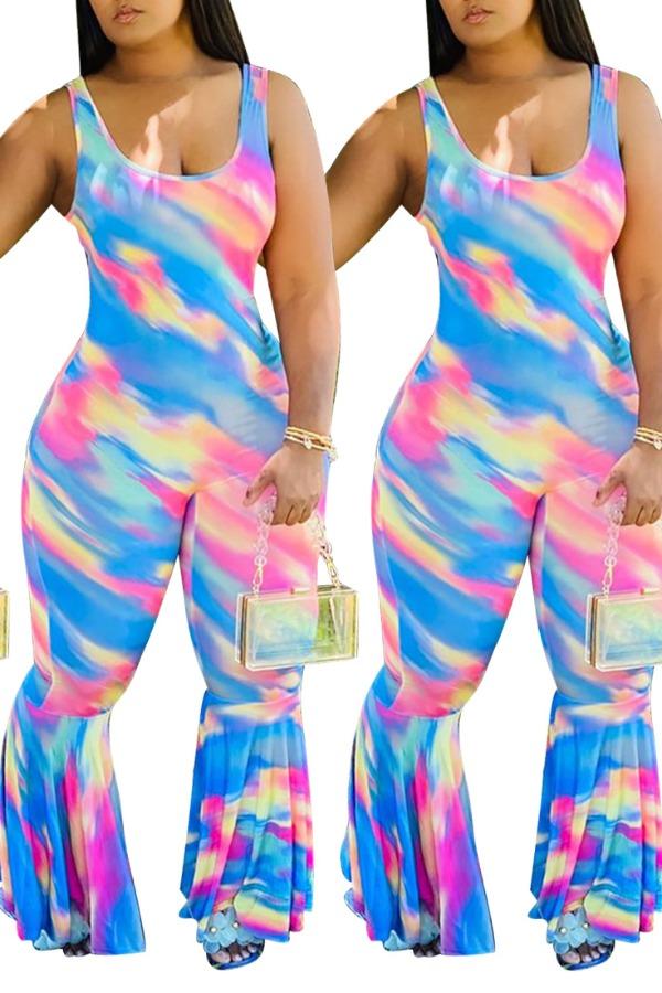Lovely Trendy Tie-dye Blue One-piece Jumpsuit