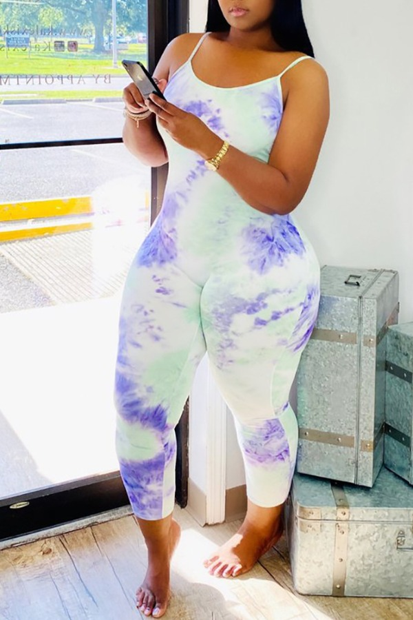 Lovely Trendy Tie-dye White One-piece Jumpsuit