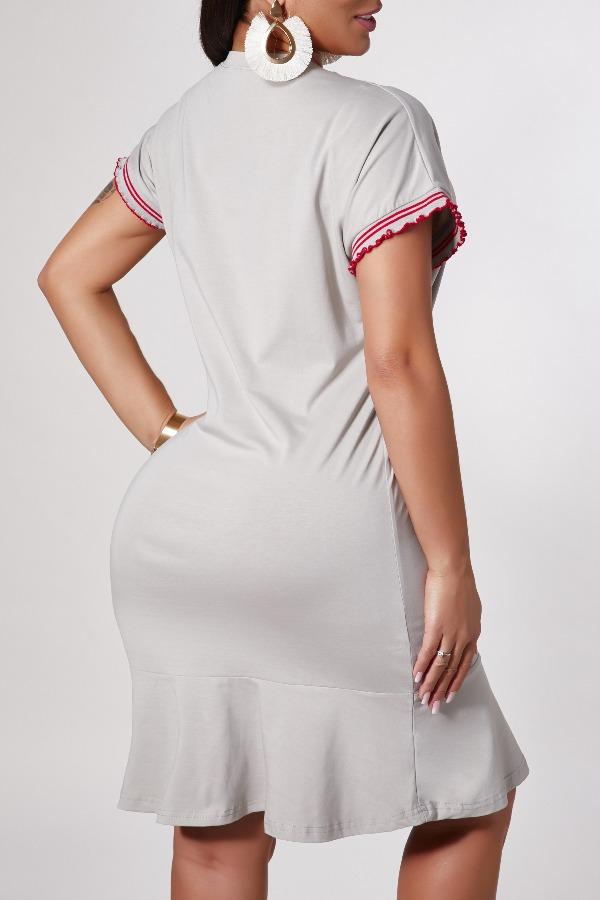 Lovely Casual Letter Grey Knee Length Dress