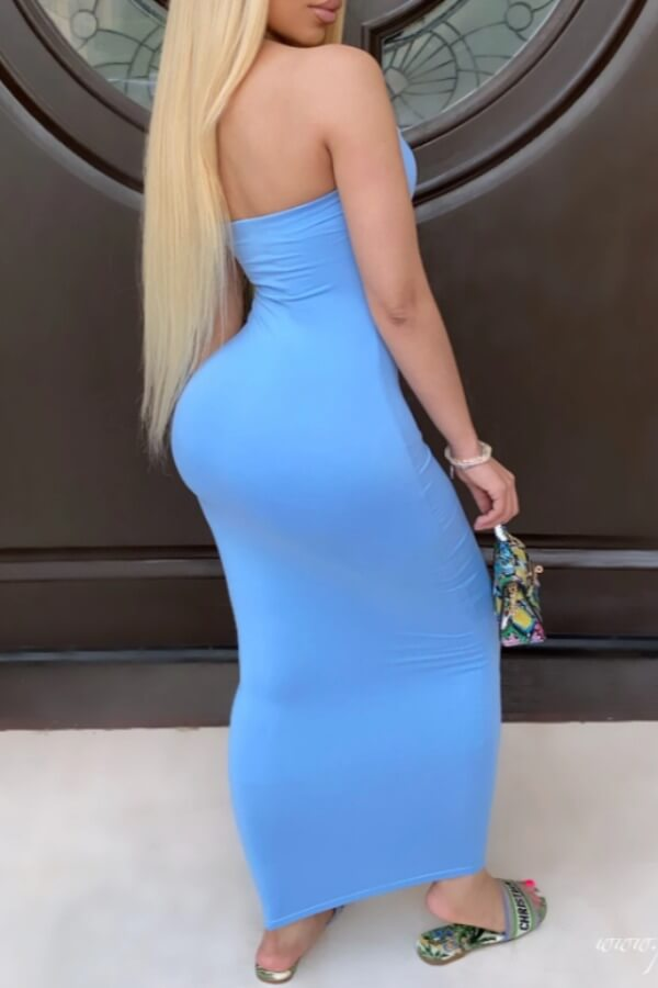 Lovely Trendy Dew Shoulder Baby Blue Ankle Length Dress