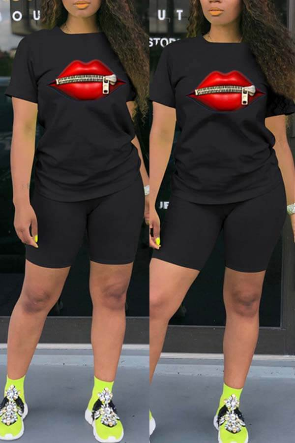 Lovely Leisure O Neck Lip Zipper Design Black Two-piece Shorts Set