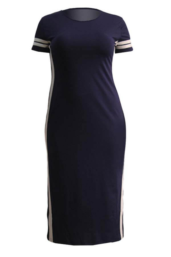Lovely Casual Patchwork Dark Blue Ankle Length Plus Size Dress