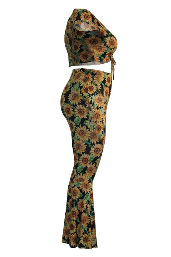 Lovely Trendy Sunflower Print Multicolor Plus Size Two-piece Pants Set