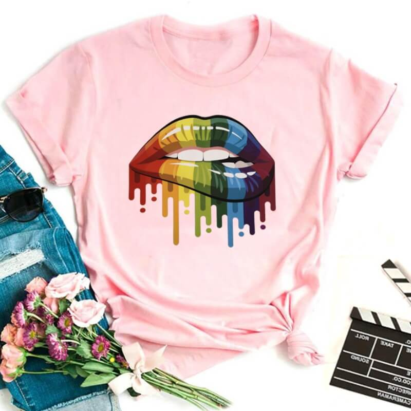 Lovely Casual O Neck Lip Print Pink T-shirt