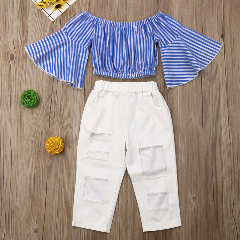 Lovely Trendy Striped Blue Girl Two-piece Pants Set