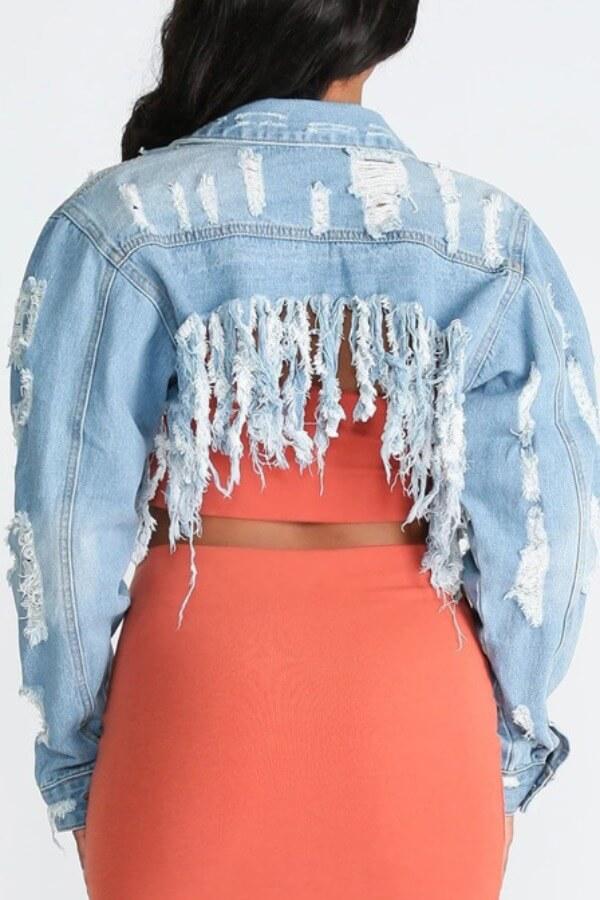 Lovely Stylish Tassel Design Baby Blue Plus Size Jacket