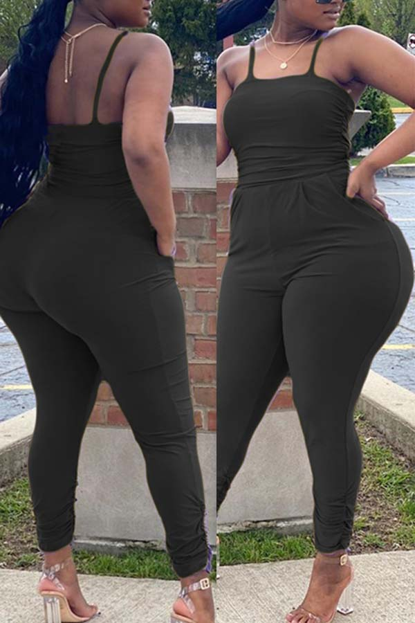 lovely Sexy Pocket Patched Black Plus Size One-piece Jumpsuit