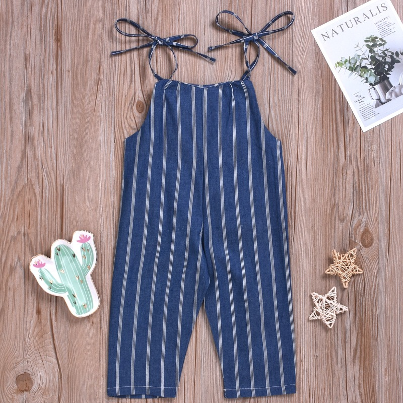 lovely Sweet Striped Deep Blue Girl One-piece Jumpsuit