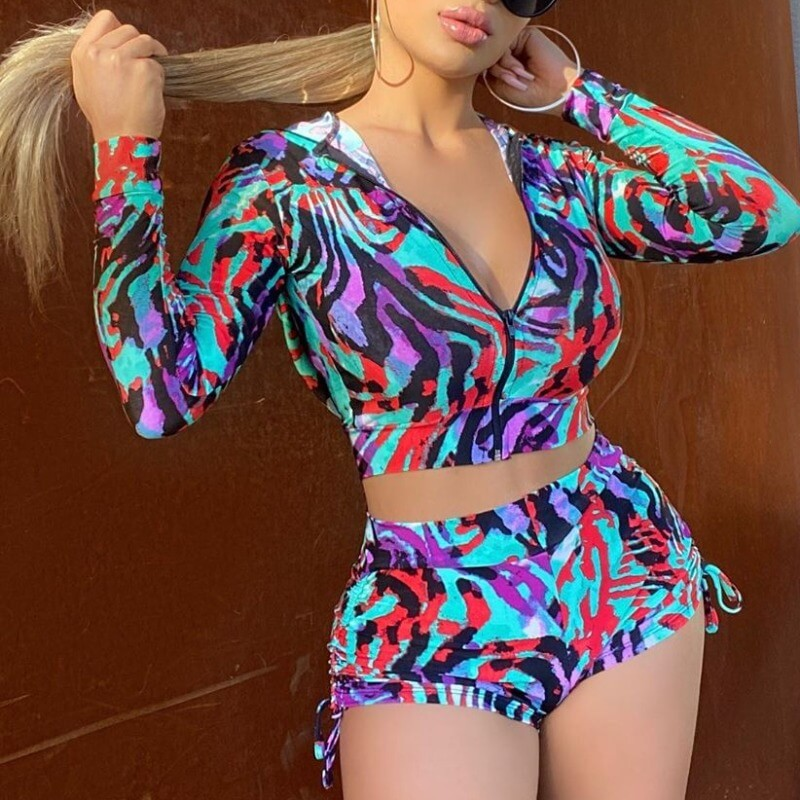 Lovely Casual Print Zipper Design Multicolor Two-p