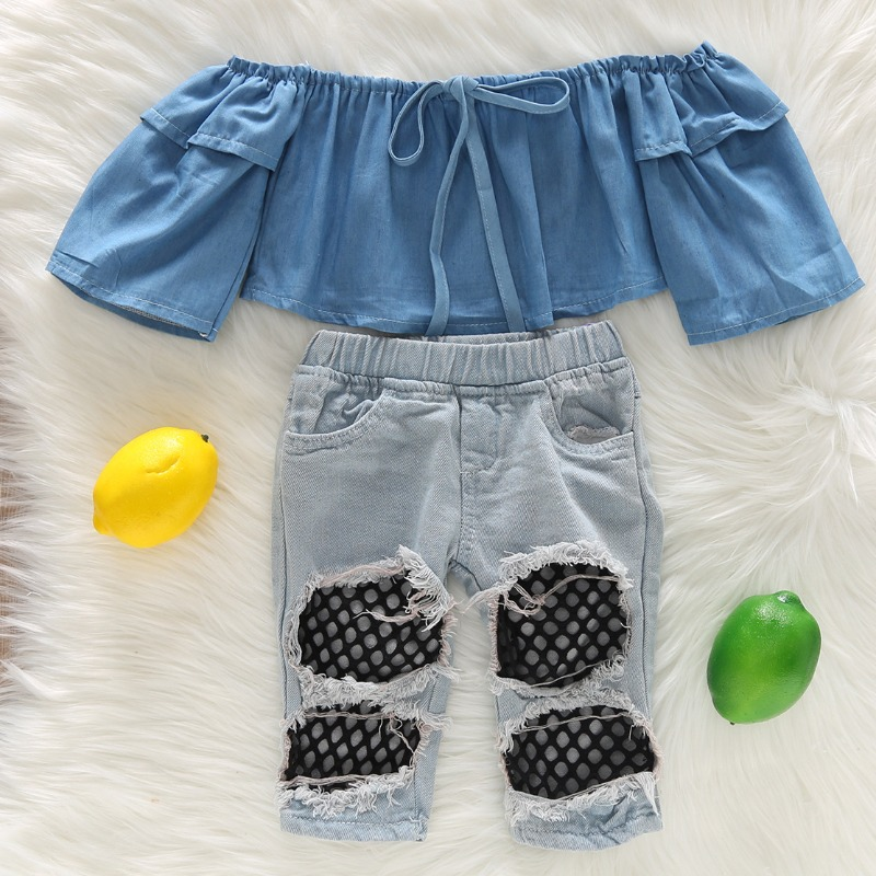 Girls Two-piece Pants Set lovely Trendy Patchwork Baby Blue Girl Two-piece Pants Set фото