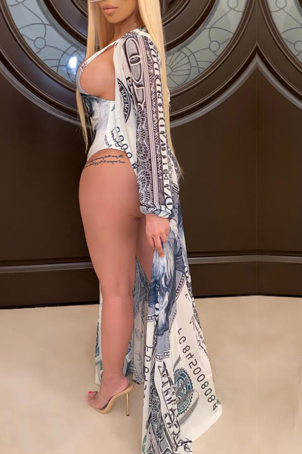 lovely Print Blue One-piece Swimsuit(With Cover-up)