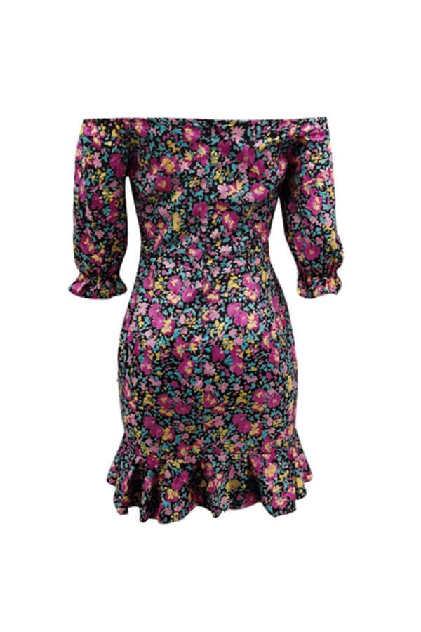 Lovely Trendy Dew Shoulder Floral Print Purple Mini Dress