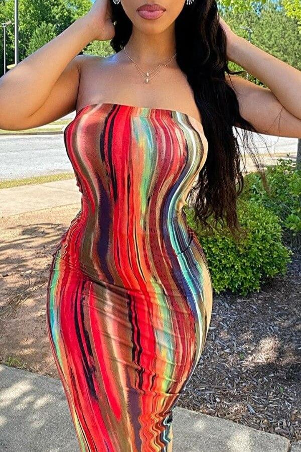 lovely Stylish Dew Shoulder Multicolor Ankle Length Dress