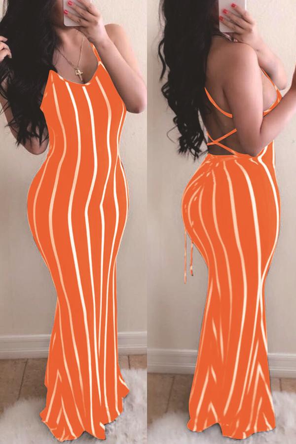 lovely Sexy Striped CrociMaxi Dress