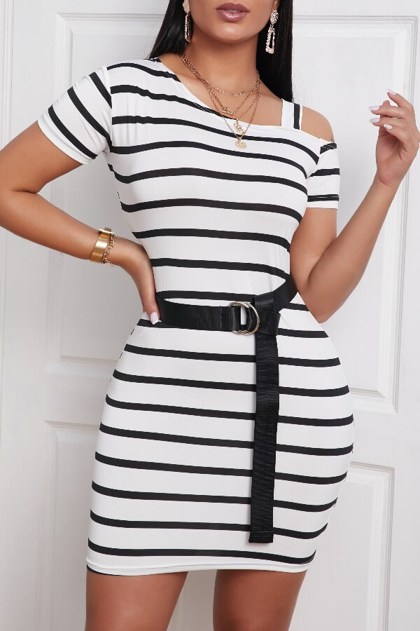 Daily Dress lovely Casual Striped White Mini Dress фото