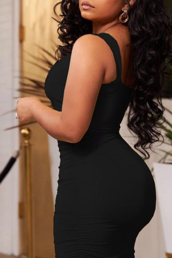 lovely Leisure Fold Design Black Ankle Length Dress