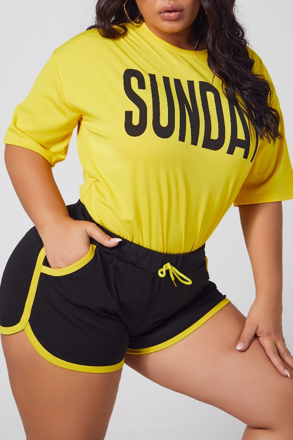 Lovely Leisure Letter Yellow Plus Size Two-piece Shorts Set фото