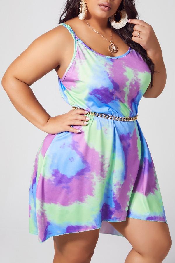 lovely Stylish Tie-dye Green Knee Length Plus Size Dress