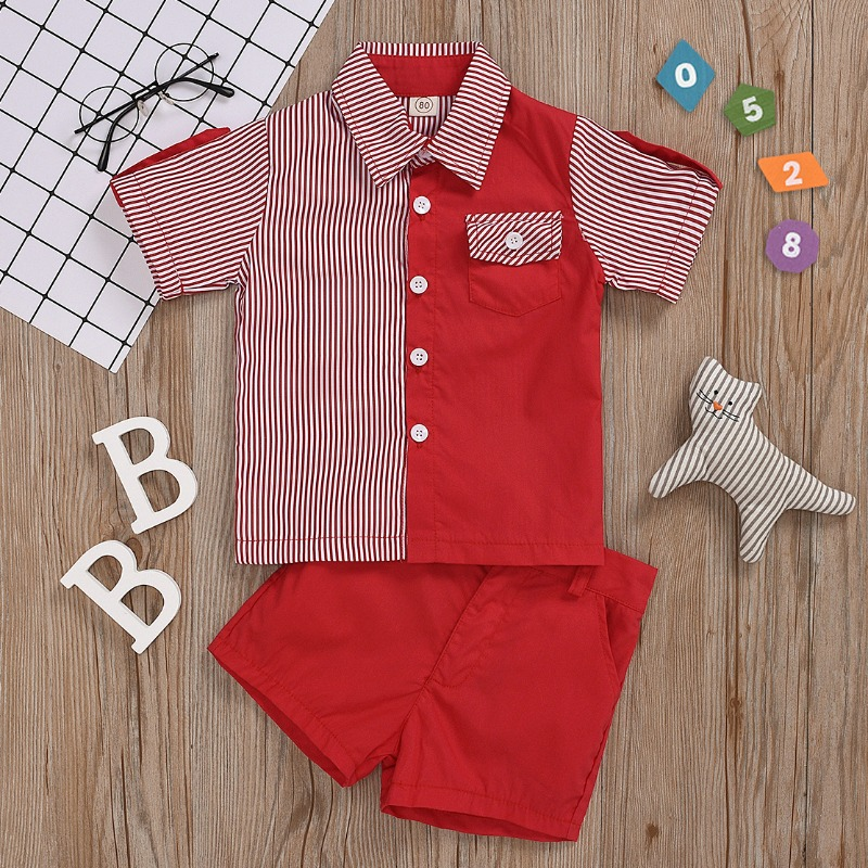 Boys Two-piece Shorts Set lovely Casual Striped Patchwork Red Boy Two-piece Shorts Set фото