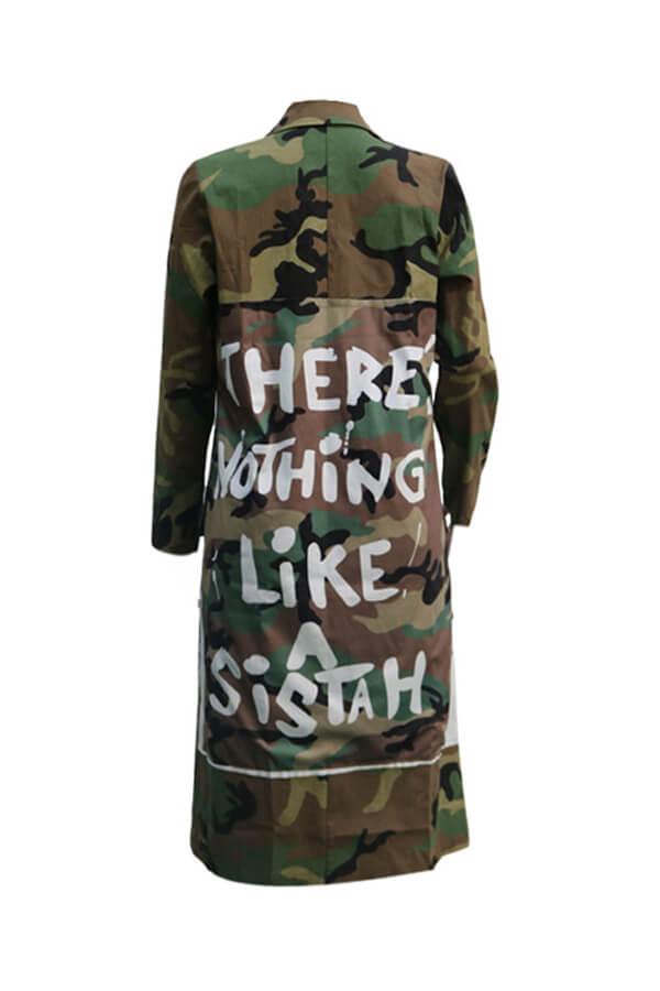 LW BASICS Plus Size Stylish Camo Print Jacket