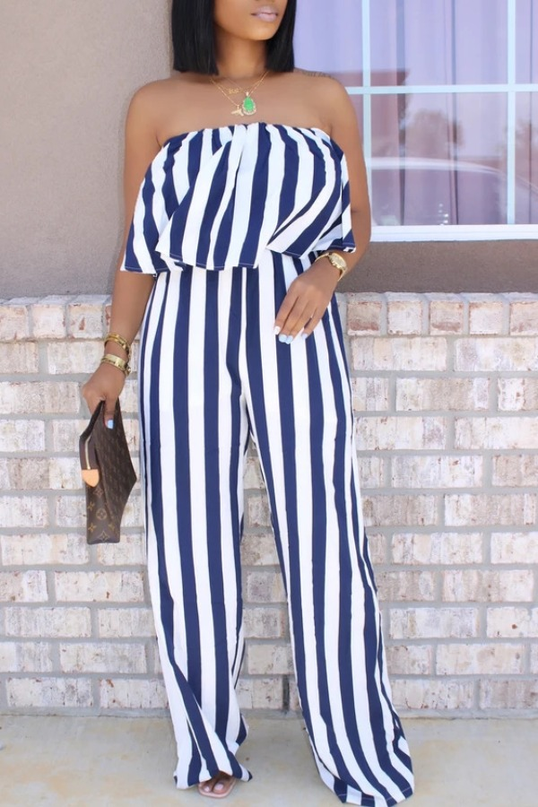 Lovely Stylish Striped Blue One-piece Jumpsuit фото