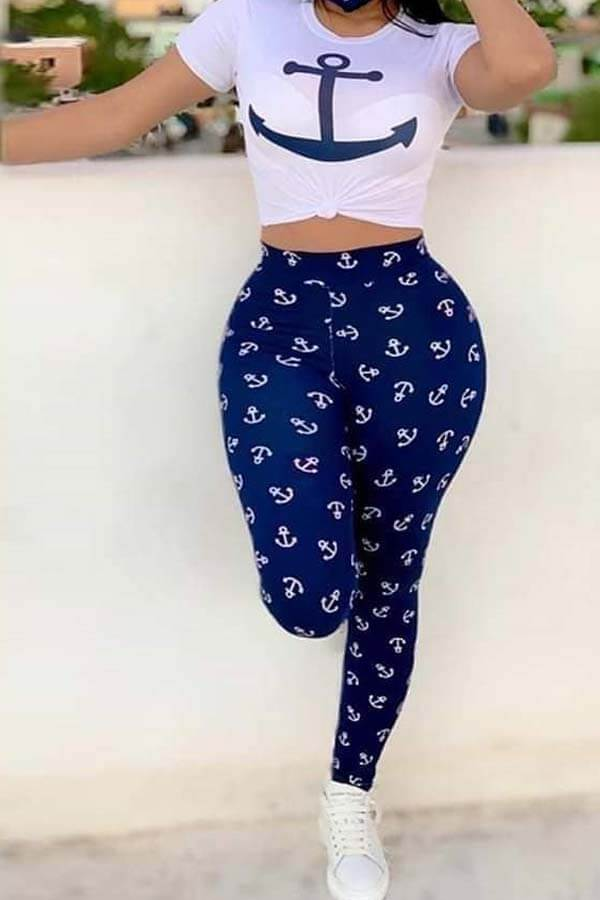 Lovely Casual O Neck Print Dark Blue Two-piece Pants Set