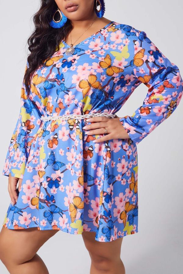 Lovely Stylish V Neck Print Deep Blue Mini Plus Size Dress фото