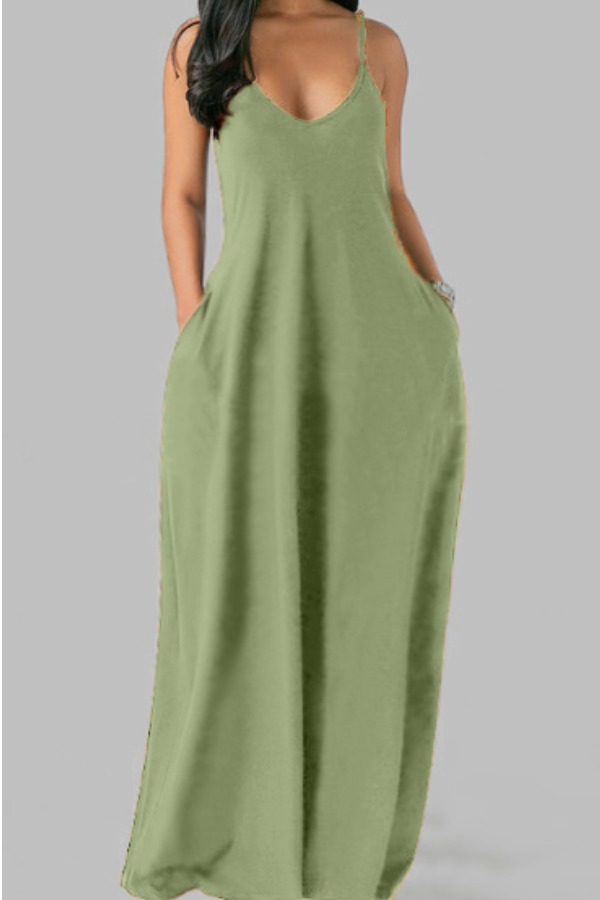 Lovely Leisure Pocket Patched Light GreenMaxi Plus Size Dress