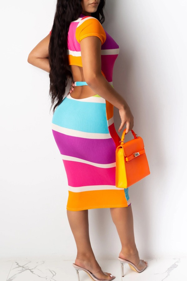 lovely Casual Rainbow Striped Multicolor Knee Length Dress