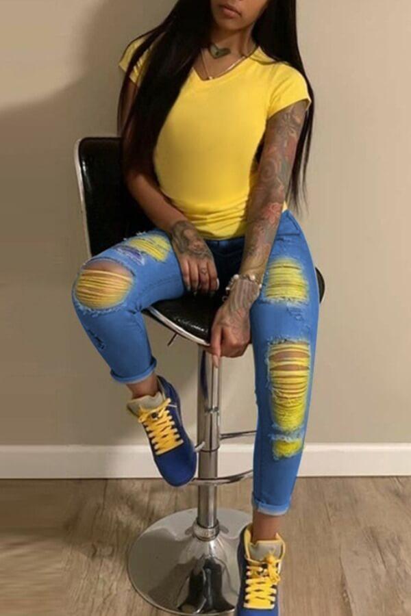 LW BASIC Plus Size Stylish Broken Holes Deep Blue Jeans