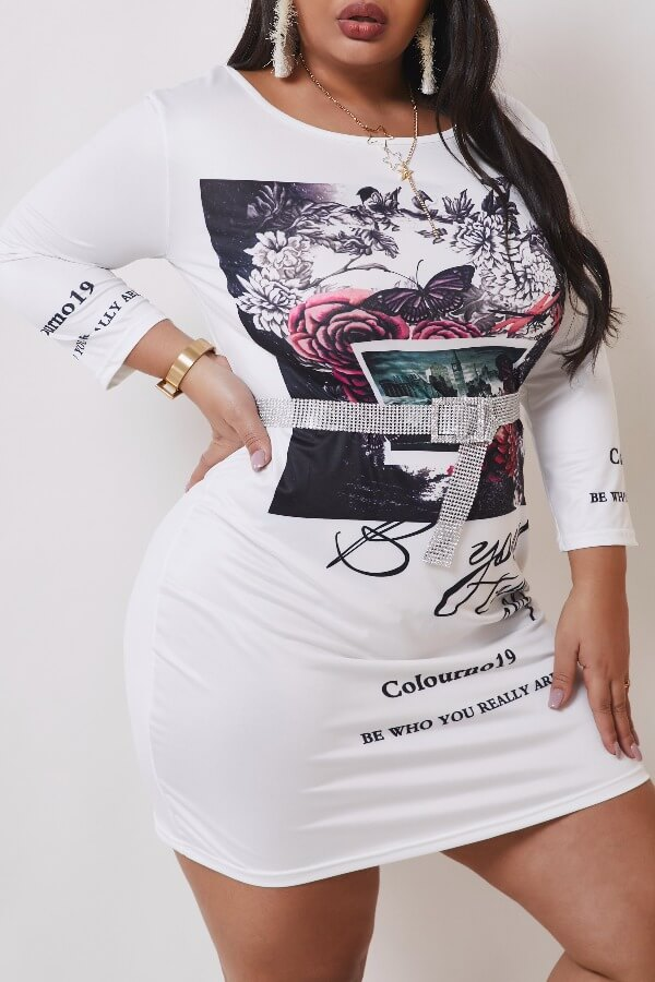Lovely Leisure Print White Knee Length Plus Size Dress фото