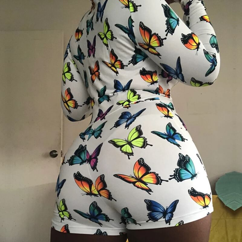 lovely Trendy Butterfly Print White Plus Size One-piece Romper