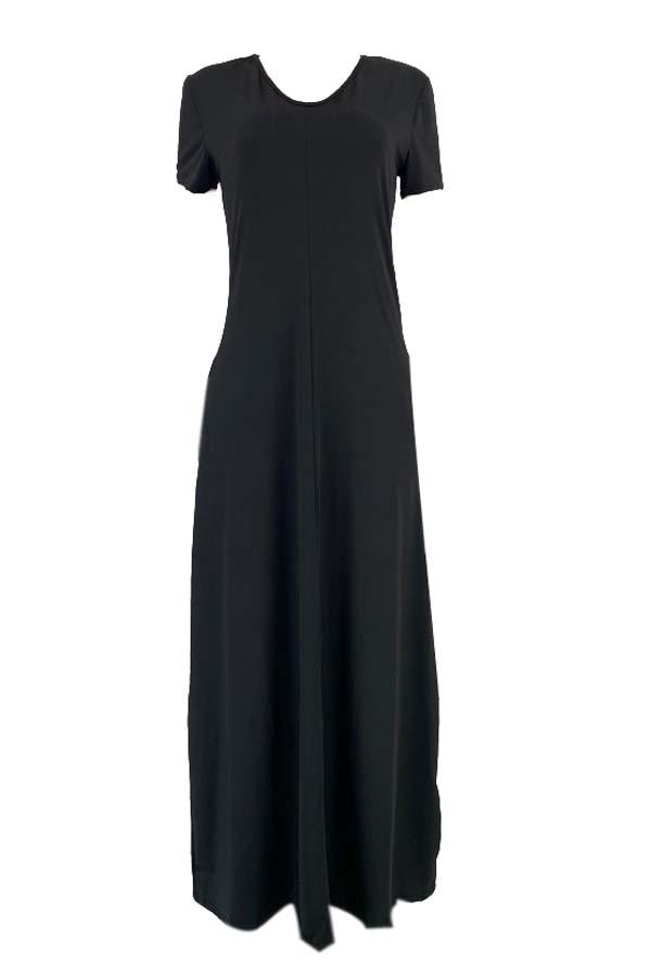lovely Casual V Neck Basic Black Ankle Length Plus Size Dress