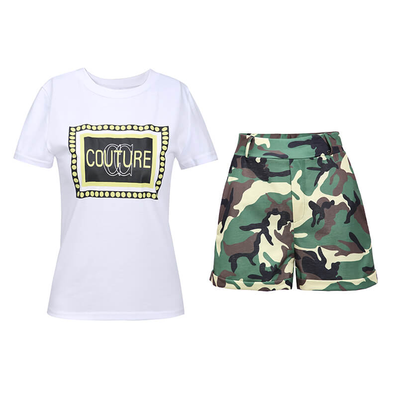 Lovely Trendy Camo Print Plus Size Two-piece Short