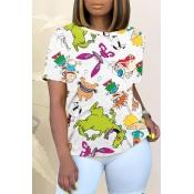 Lovely Street O Neck Cartoon Print White T-shirt