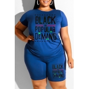 Lovely Casual Letter Print Blue Plus Size Two-piece Shorts Set