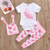 Lovely Casual Letter Print Pink Girl Two-piece Pan
