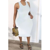 Lovely Trendy Hollow-out White Mid Calf Plus Size