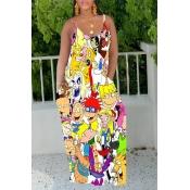 Lovely Casual Cartoon Print Multicolor Maxi Dress