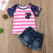 Lovely Casual Striped Rose Red Girl Two-piece Shor
