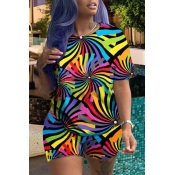 Lovely Casual Print Multicolor Plus Size Two-piece Shorts Set