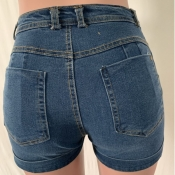 Lovely Casual Lace-up Baby Blue Plus Size Shorts